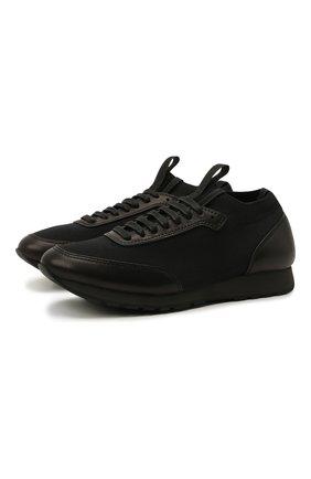 Мужские комбинированные кроссовки BRIONI черного цвета, арт. QHL10L/09714   Фото 1 (Материал внутренний: Текстиль, Натуральная кожа; Материал внешний: Текстиль; Стили: Классический; Подошва: Плоская)