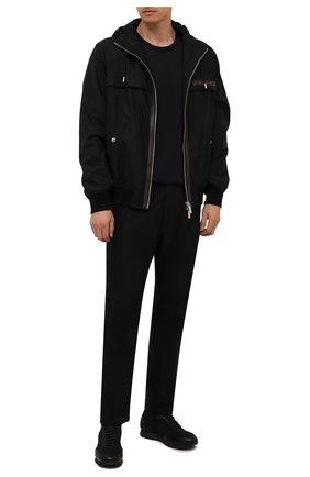 Мужские комбинированные кроссовки BRIONI черного цвета, арт. QHL10L/09714   Фото 2 (Материал внутренний: Текстиль, Натуральная кожа; Материал внешний: Текстиль; Стили: Классический; Подошва: Плоская)