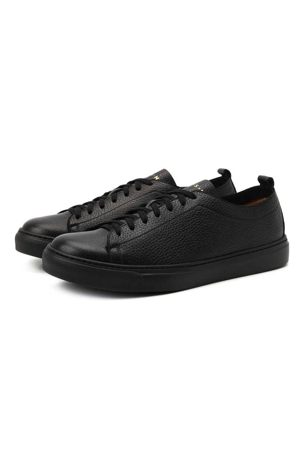 Мужские кожаные кеды H`D`S`N BARACCO черного цвета, арт. BRYAN.24N* | Фото 1 (Материал внутренний: Натуральная кожа; Подошва: Массивная)
