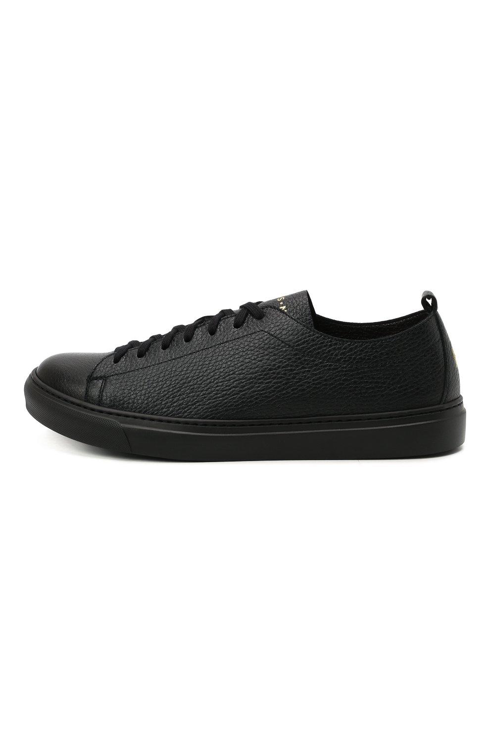 Мужские кожаные кеды H`D`S`N BARACCO черного цвета, арт. BRYAN.24N* | Фото 3 (Материал внутренний: Натуральная кожа; Подошва: Массивная)