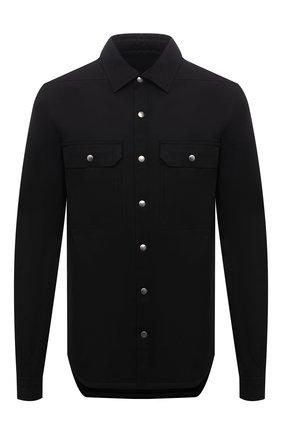 Мужская хлопковая куртка-рубашка RICK OWENS черного цвета, арт. RU02A5729/TE | Фото 1