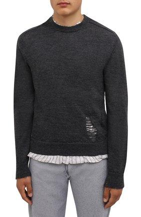 Мужской шерстяной свитер MAISON MARGIELA серого цвета, арт. S50HA1007/S17784   Фото 3 (Материал внешний: Шерсть; Рукава: Длинные; Принт: Без принта; Длина (для топов): Стандартные; Материал подклада: Синтетический материал, Вискоза; Мужское Кросс-КТ: Свитер-одежда; Стили: Минимализм)