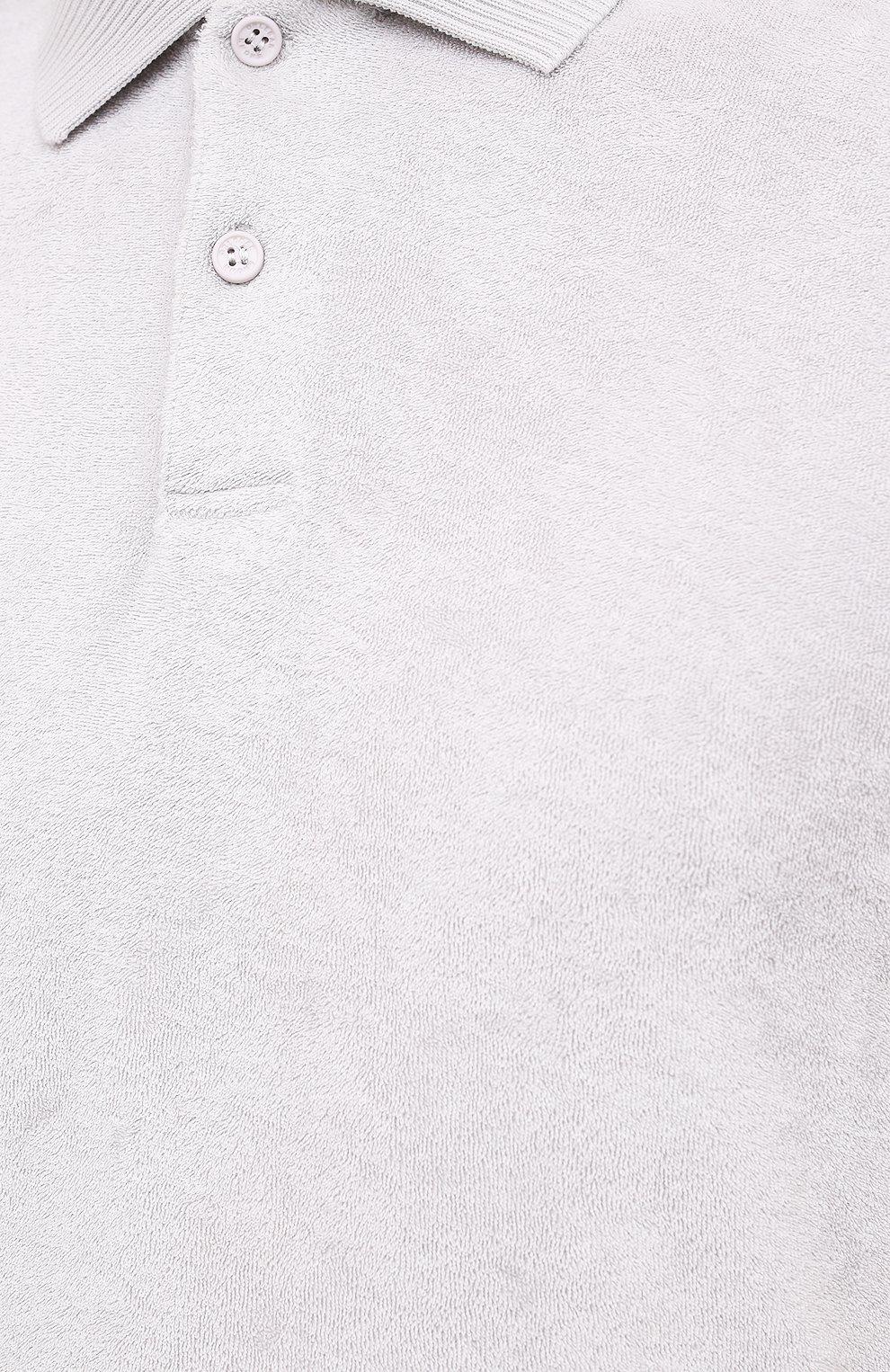 Мужское хлопковое поло ORLEBAR BROWN светло-бежевого цвета, арт. 274239 | Фото 5 (Застежка: Пуговицы; Кросс-КТ: Пляж; Рукава: Короткие; Длина (для топов): Стандартные; Материал внешний: Хлопок; Стили: Кэжуэл)