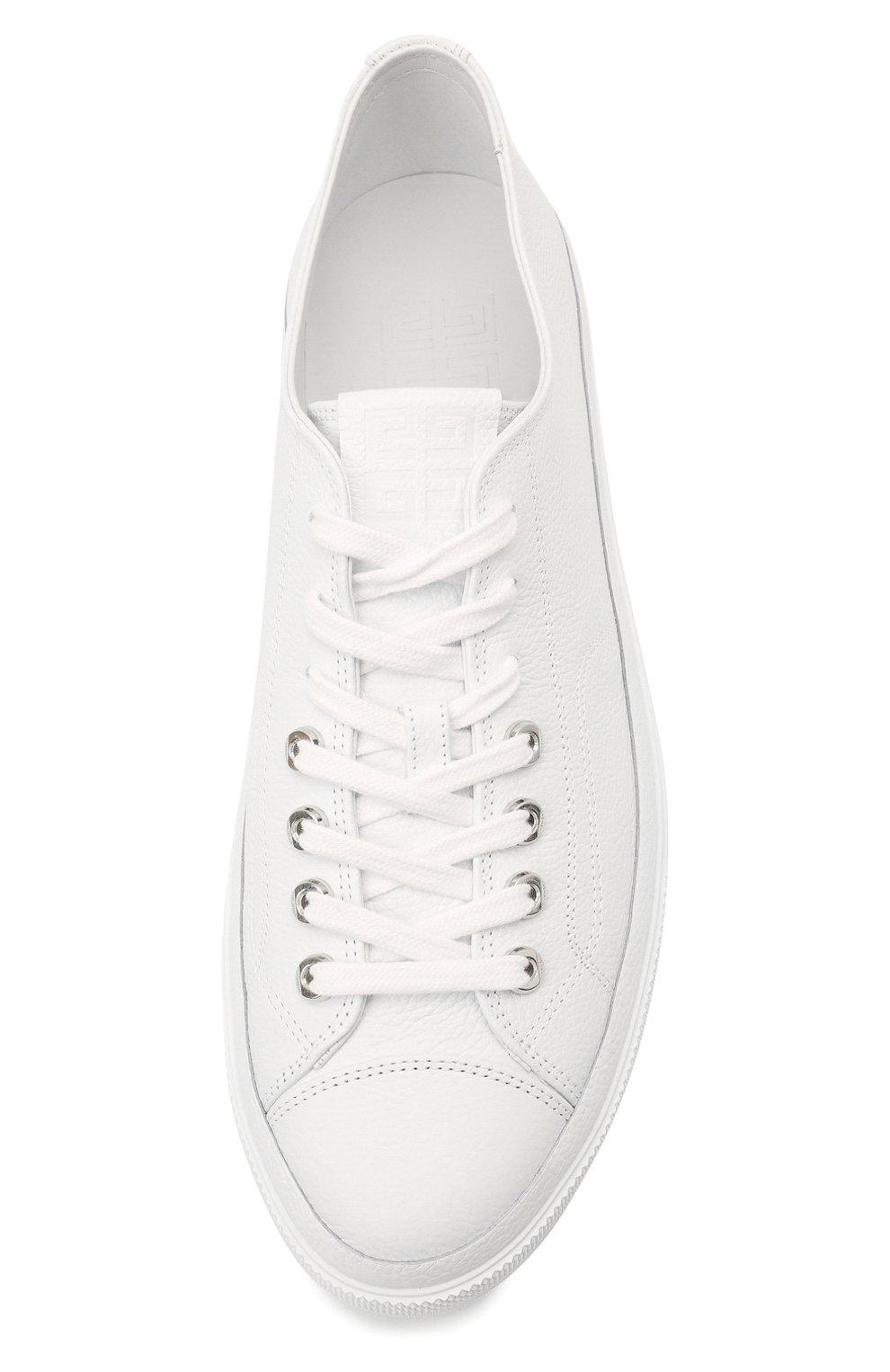 Мужские кожаные кеды city GIVENCHY белого цвета, арт. BH0050H0X2 | Фото 5 (Материал внутренний: Натуральная кожа; Подошва: Плоская)