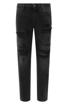 Мужские джинсы DOLCE & GABBANA темно-серого цвета, арт. GWURAD/G8EG6   Фото 1 (Материал внешний: Хлопок; Длина (брюки, джинсы): Стандартные; Кросс-КТ: Деним; Силуэт М (брюки): Прямые; Детали: Потертости; Стили: Гранж)