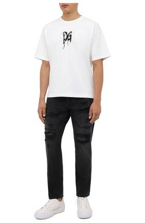 Мужские джинсы DOLCE & GABBANA темно-серого цвета, арт. GWURAD/G8EG6   Фото 2 (Материал внешний: Хлопок; Длина (брюки, джинсы): Стандартные; Кросс-КТ: Деним; Силуэт М (брюки): Прямые; Детали: Потертости; Стили: Гранж)
