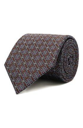 Мужской шелковый галстук CANALI коричневого цвета, арт. 18/HJ03295   Фото 1 (Материал: Шелк, Текстиль; Принт: С принтом)