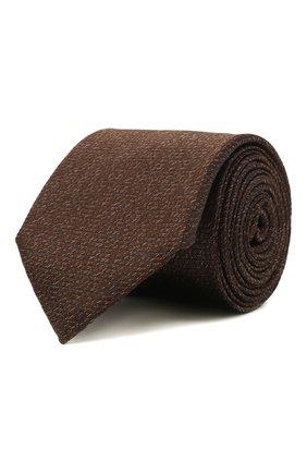 Мужской шелковый галстук CANALI коричневого цвета, арт. 24/HJ03283   Фото 1 (Материал: Шелк, Текстиль; Принт: Без принта)