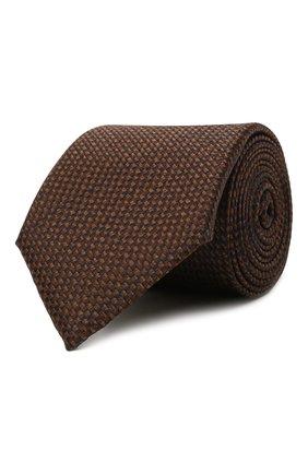Мужской шелковый галстук CANALI коричневого цвета, арт. 18/HJ03281   Фото 1 (Материал: Текстиль, Шелк; Принт: С принтом)