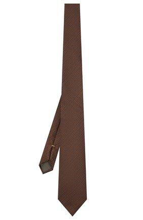 Мужской шелковый галстук CANALI коричневого цвета, арт. 18/HJ03281   Фото 2 (Материал: Текстиль, Шелк; Принт: С принтом)