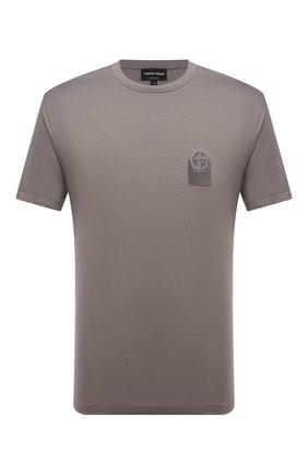 Мужская футболка из вискозы GIORGIO ARMANI темно-бежевого цвета, арт. 6KSM74/SJKLZ | Фото 1 (Рукава: Короткие; Материал внешний: Вискоза; Длина (для топов): Стандартные; Принт: Без принта; Стили: Кэжуэл)