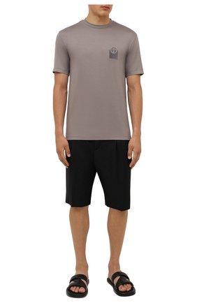 Мужская футболка из вискозы GIORGIO ARMANI темно-бежевого цвета, арт. 6KSM74/SJKLZ | Фото 2 (Рукава: Короткие; Материал внешний: Вискоза; Длина (для топов): Стандартные; Принт: Без принта; Стили: Кэжуэл)