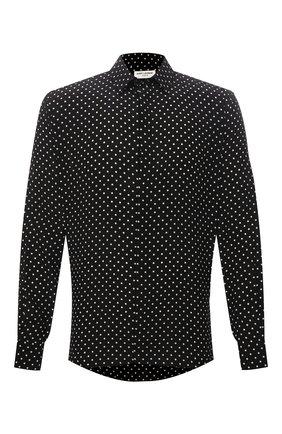 Мужская шелковая рубашка SAINT LAURENT черного цвета, арт. 646850/Y2D47 | Фото 1
