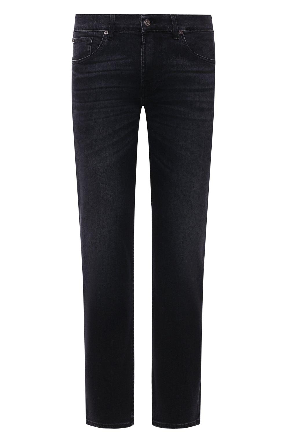 Мужские джинсы 7 FOR ALL MANKIND черного цвета, арт. JSMSL85RWB   Фото 1 (Силуэт М (брюки): Прямые; Кросс-КТ: Деним; Длина (брюки, джинсы): Стандартные; Материал внешний: Хлопок; Стили: Кэжуэл)