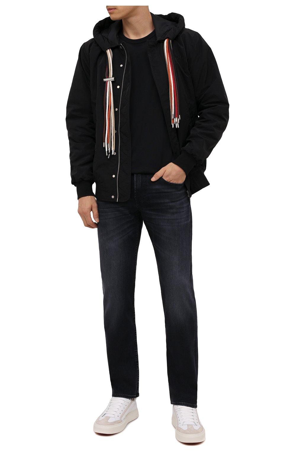 Мужские джинсы 7 FOR ALL MANKIND черного цвета, арт. JSMSL85RWB   Фото 2 (Силуэт М (брюки): Прямые; Кросс-КТ: Деним; Длина (брюки, джинсы): Стандартные; Материал внешний: Хлопок; Стили: Кэжуэл)