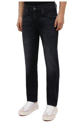Мужские джинсы 7 FOR ALL MANKIND черного цвета, арт. JSMSL85RWB   Фото 3 (Силуэт М (брюки): Прямые; Кросс-КТ: Деним; Длина (брюки, джинсы): Стандартные; Материал внешний: Хлопок; Стили: Кэжуэл)