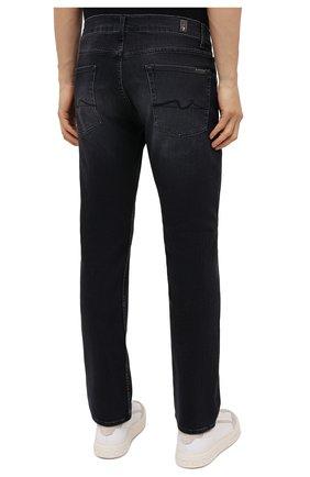 Мужские джинсы 7 FOR ALL MANKIND черного цвета, арт. JSMSL85RWB   Фото 4 (Силуэт М (брюки): Прямые; Кросс-КТ: Деним; Длина (брюки, джинсы): Стандартные; Материал внешний: Хлопок; Стили: Кэжуэл)