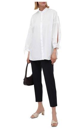 Женская хлопковая рубашка BOSS белого цвета, арт. 50454037 | Фото 2