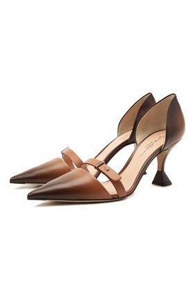 Женские кожаные туфли GIORGIO ARMANI коричневого цвета, арт. X1E894/XM945   Фото 1