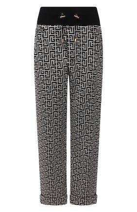 Женские хлопковые брюки BALMAIN черно-белого цвета, арт. WF10B000/J193   Фото 1 (Материал внешний: Хлопок; Длина (брюки, джинсы): Укороченные; Стили: Спорт-шик; Женское Кросс-КТ: Брюки-одежда; Силуэт Ж (брюки и джинсы): Прямые; Кросс-КТ: Трикотаж)