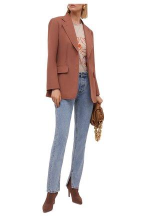 Женские текстильные ботильоны GIANVITO ROSSI коричневого цвета, арт. G70329.85RIC.KIBPRAL | Фото 2