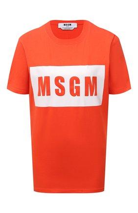 Женская хлопковая футболка MSGM оранжевого цвета, арт. 3141MDM520 217798   Фото 1 (Длина (для топов): Стандартные; Рукава: Короткие; Материал внешний: Хлопок; Стили: Спорт-шик; Принт: С принтом; Женское Кросс-КТ: Футболка-одежда)