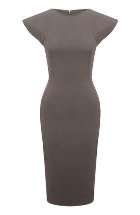 Женское платье из хлопка и вискозы RICK OWENS серого цвета, арт. RP02A7525/GG   Фото 1