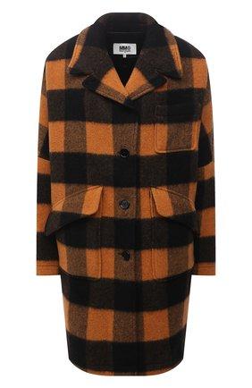 Женское шерстяное пальто MM6 оранжевого цвета, арт. S52AA0113/S53979   Фото 1