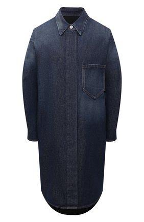 Женское джинсовое платье MM6 синего цвета, арт. S52AA0117/STZ019 | Фото 1 (Рукава: Длинные; Длина Ж (юбки, платья, шорты): До колена; Стили: Гламурный; Случай: Повседневный; Кросс-КТ: Деним; Женское Кросс-КТ: Платье-одежда; Материал внешний: Хлопок)