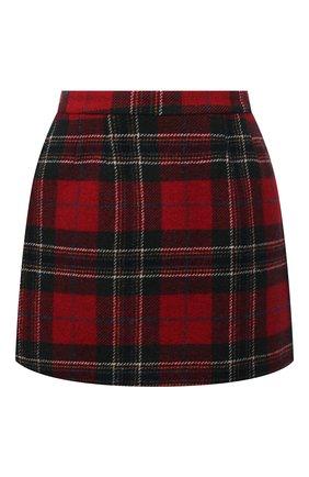 Женская шерстяная юбка REDVALENTINO красного цвета, арт. WR3RAC25/5Y8 | Фото 1 (Материал внешний: Шерсть; Длина Ж (юбки, платья, шорты): Мини; Материал подклада: Синтетический материал; Стили: Гламурный; Женское Кросс-КТ: Юбка-одежда)