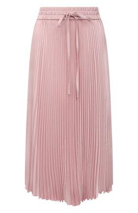 Женская плиссированная юбка REDVALENTINO светло-розового цвета, арт. WR3RA360/5Y5   Фото 1 (Материал внешний: Синтетический материал; Стили: Романтичный; Женское Кросс-КТ: Юбка-одежда, юбка-плиссе; Длина Ж (юбки, платья, шорты): Миди)