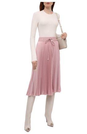 Женская плиссированная юбка REDVALENTINO светло-розового цвета, арт. WR3RA360/5Y5   Фото 2 (Материал внешний: Синтетический материал; Стили: Романтичный; Женское Кросс-КТ: Юбка-одежда, юбка-плиссе; Длина Ж (юбки, платья, шорты): Миди)