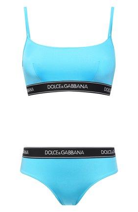 Женский раздельный купальник DOLCE & GABBANA голубого цвета, арт. 08A90J/FUGLG | Фото 1