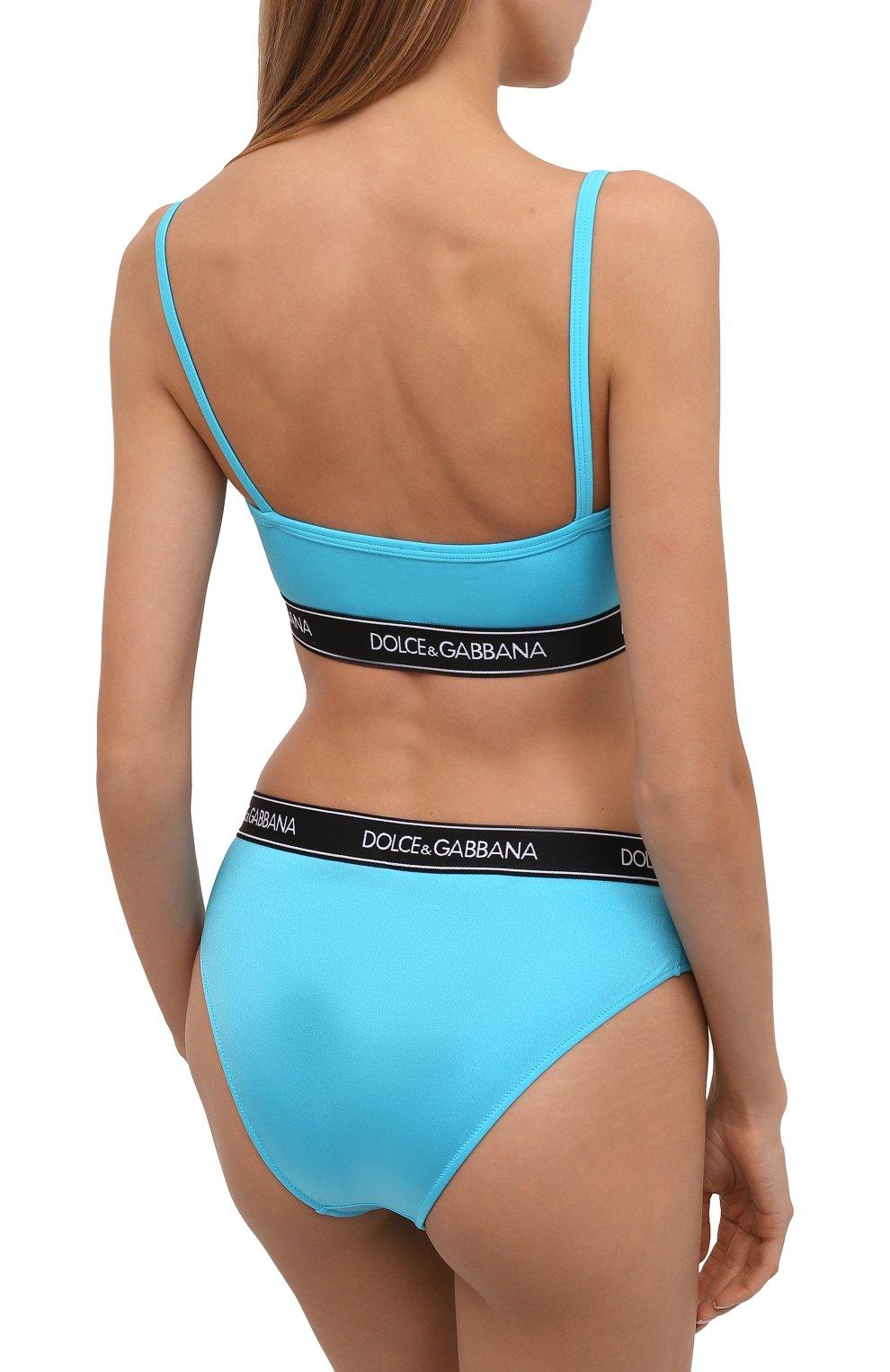 Женский раздельный купальник DOLCE & GABBANA голубого цвета, арт. 08A90J/FUGLG | Фото 3