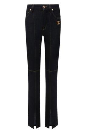 Женские джинсы DOLCE & GABBANA темно-синего цвета, арт. FTD4CD/G901S   Фото 1 (Материал внешний: Хлопок, Лиоцелл; Длина (брюки, джинсы): Стандартные; Стили: Гламурный; Кросс-КТ: Деним; Силуэт Ж (брюки и джинсы): Узкие)