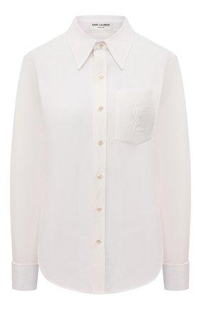 Женская рубашка из смеси льна и хлопка SAINT LAURENT кремвого цвета, арт. 671299/Y3D50   Фото 1 (Длина (для топов): Стандартные; Рукава: Длинные; Материал внешний: Лен, Хлопок; Стили: Гламурный; Принт: Без принта; Женское Кросс-КТ: Рубашка-одежда)