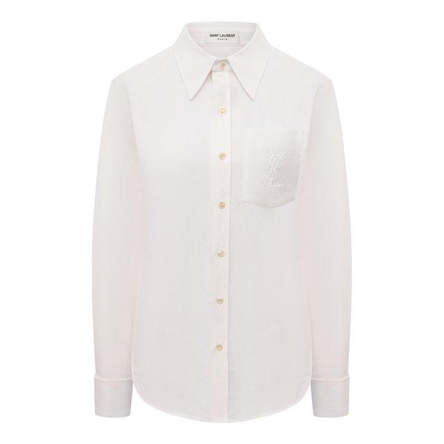 Рубашка из смеси льна и хлопка Saint Laurent