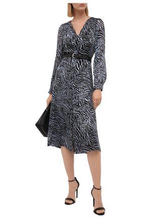 Женское платье из смеси шелка и вискозы MICHAEL MICHAEL KORS тёмно-голубого цвета, арт. MU18Y4626J | Фото 2
