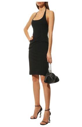 Женские кожаные босоножки opyum SAINT LAURENT черного цвета, арт. 557662/0NPVV | Фото 2 (Подошва: Плоская; Каблук высота: Высокий; Материал внутренний: Натуральная кожа; Каблук тип: Фигурный)