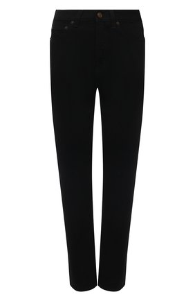 Женские джинсы SAINT LAURENT черного цвета, арт. 644024/YF899   Фото 1 (Материал внешний: Хлопок; Длина (брюки, джинсы): Стандартные; Стили: Гламурный; Кросс-КТ: Деним; Силуэт Ж (брюки и джинсы): Узкие)