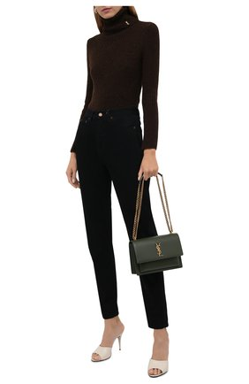 Женские джинсы SAINT LAURENT черного цвета, арт. 644024/YF899   Фото 2 (Материал внешний: Хлопок; Длина (брюки, джинсы): Стандартные; Стили: Гламурный; Кросс-КТ: Деним; Силуэт Ж (брюки и джинсы): Узкие)
