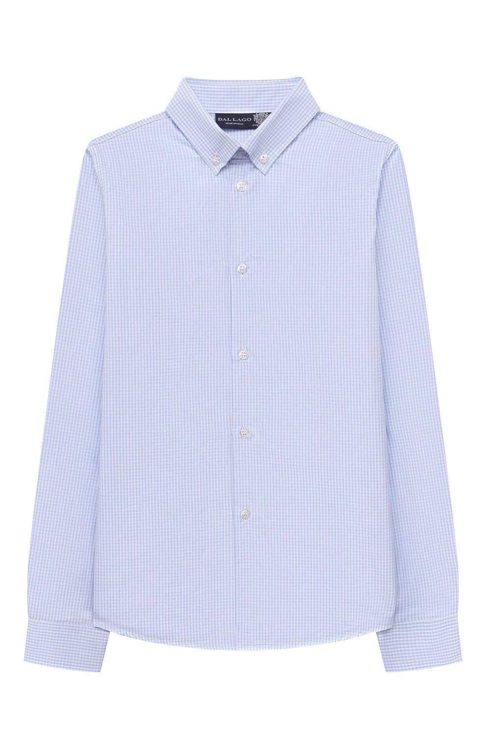 Детская хлопковая рубашка DAL LAGO голубого цвета, арт. N405/2206/13-16   Фото 1 (Рукава: Длинные; Материал внешний: Хлопок; Стили: Классический; Ростовка одежда: 13 - 15 лет   158 см, 16 лет   164 см)