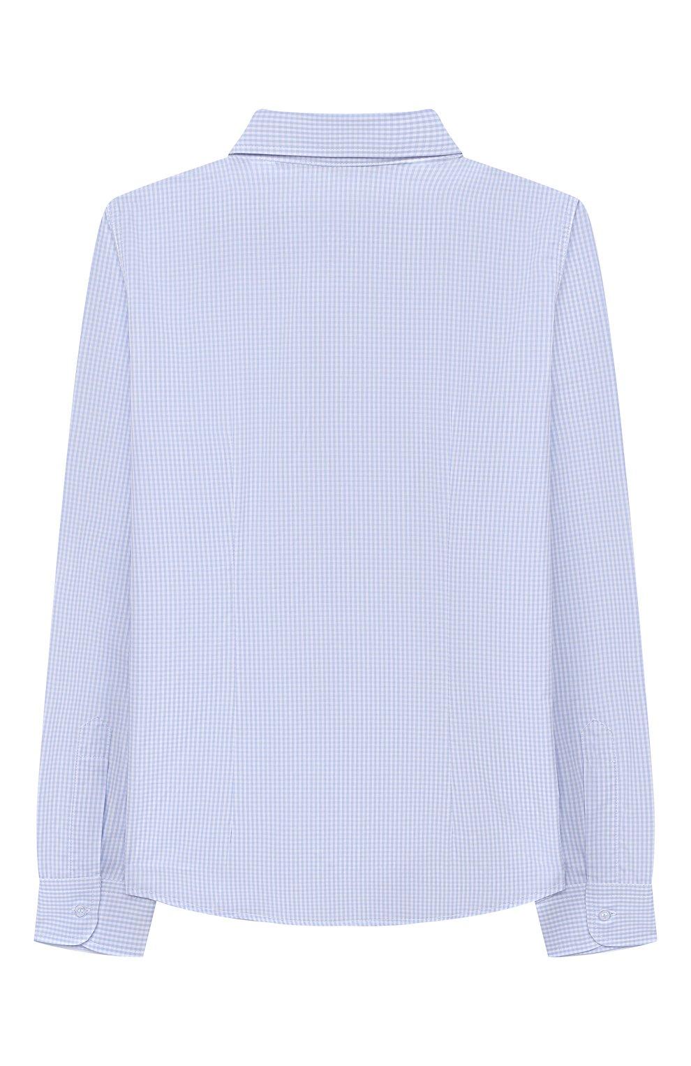 Детская хлопковая рубашка DAL LAGO голубого цвета, арт. N405/2206/13-16   Фото 2 (Рукава: Длинные; Материал внешний: Хлопок; Стили: Классический; Ростовка одежда: 13 - 15 лет   158 см, 16 лет   164 см)