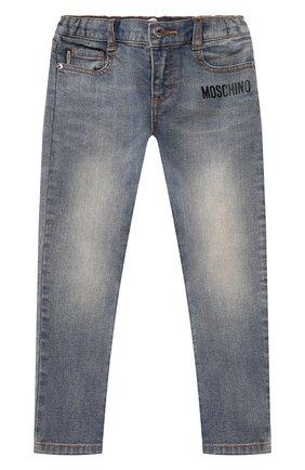 Детские джинсы MOSCHINO синего цвета, арт. HUP040/LXE16/10A-14A   Фото 1 (Материал внешний: Хлопок; Ростовка одежда: 10 - 11 лет   140 - 146см, 12 лет   152 см)