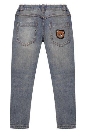 Детские джинсы MOSCHINO синего цвета, арт. HUP040/LXE16/10A-14A   Фото 2 (Материал внешний: Хлопок; Ростовка одежда: 10 - 11 лет   140 - 146см, 12 лет   152 см)