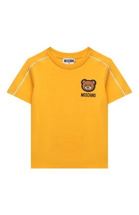 Детская хлопковая футболка MOSCHINO желтого цвета, арт. HUM03A/LBA23/10A-14A | Фото 1