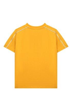 Детская хлопковая футболка MOSCHINO желтого цвета, арт. HUM03A/LBA23/10A-14A | Фото 2