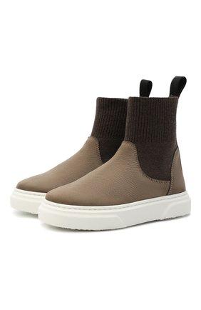 Детские кожаные ботинки MONTELPARE TRADITION коричневого цвета, арт. MT18301/M0RBID0NE/T0MAIA/M0NT0NE/28-35 | Фото 1