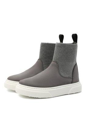 Детские кожаные ботинки MONTELPARE TRADITION серого цвета, арт. MT18301/M0RBID0NE/T0MAIA/28-35 | Фото 1