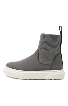 Детские кожаные ботинки MONTELPARE TRADITION серого цвета, арт. MT18301/M0RBID0NE/T0MAIA/28-35 | Фото 2
